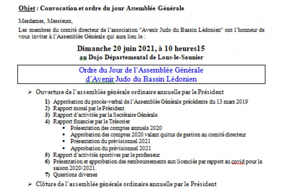 Assemblée générale élective de l'AJBL le dimanche 20 juin 2021
